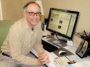 Literary Agent Andy Ross in his office