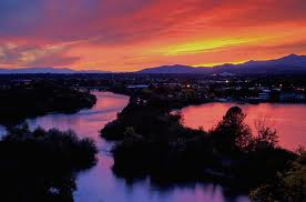 Sunset Sacramento on American River